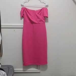 PinkBlush off the shoulder hot pink maternity